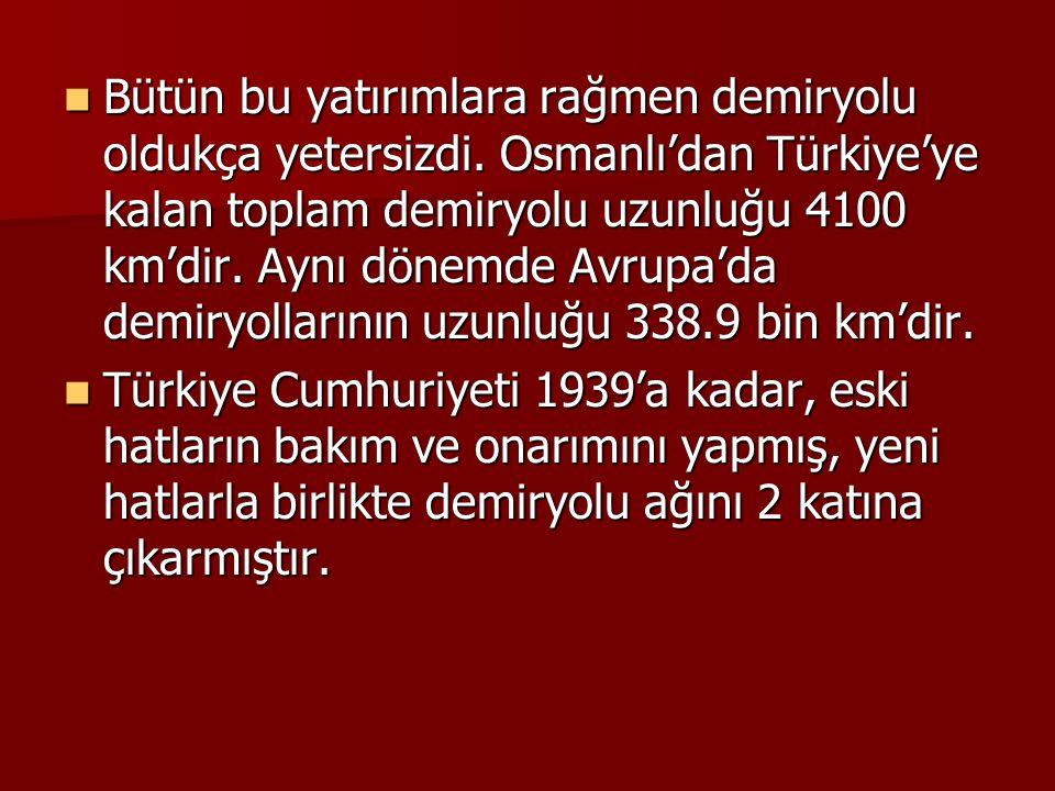 Bütün bu yatırımlara rağmen demiryolu oldukça yetersizdi. Osmanlı'dan Türkiye'ye kalan toplam demiryolu uzunluğu 4100 km'dir. Aynı dönemde Avrupa'da d