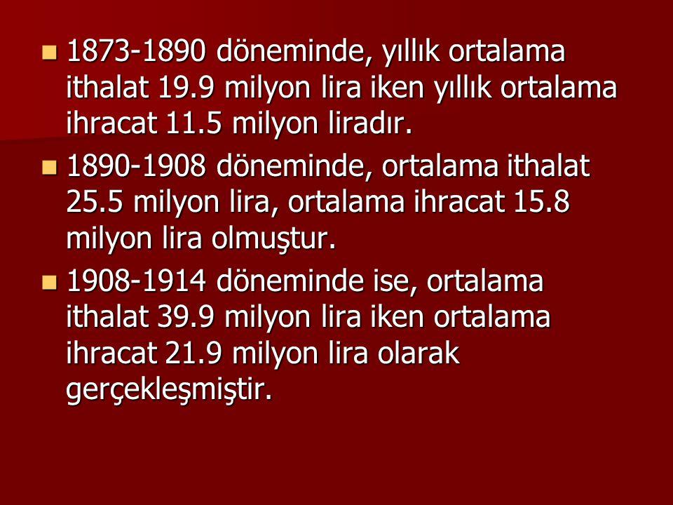 1873-1890 döneminde, yıllık ortalama ithalat 19.9 milyon lira iken yıllık ortalama ihracat 11.5 milyon liradır. 1873-1890 döneminde, yıllık ortalama i
