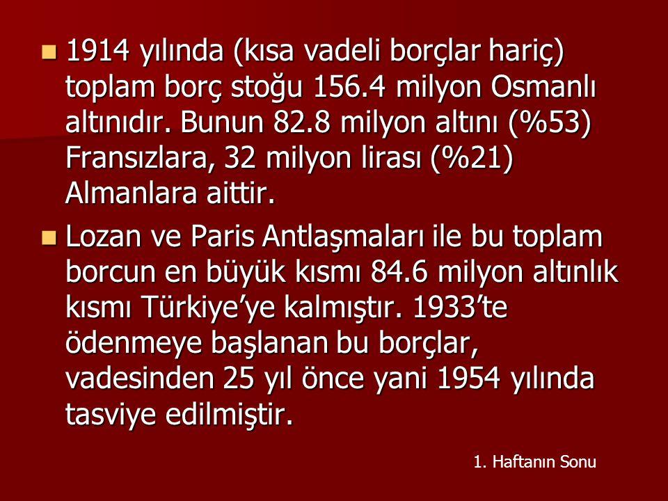 1914 yılında (kısa vadeli borçlar hariç) toplam borç stoğu 156.4 milyon Osmanlı altınıdır. Bunun 82.8 milyon altını (%53) Fransızlara, 32 milyon liras