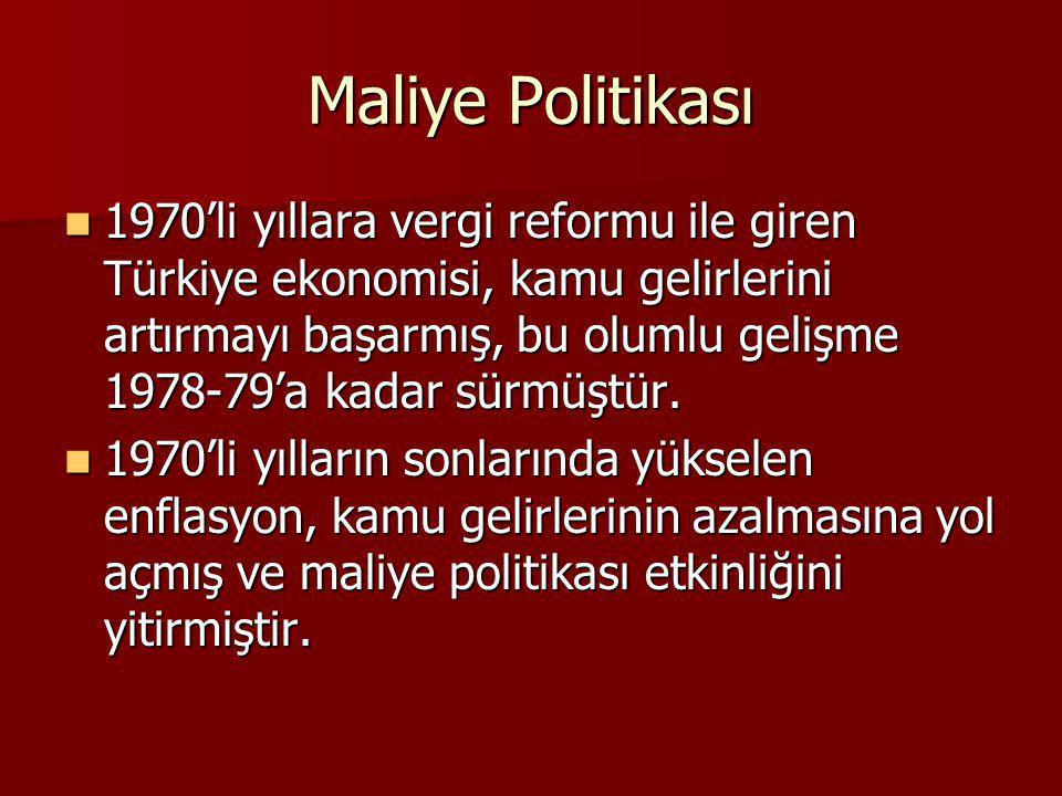 Maliye Politikası 1970'li yıllara vergi reformu ile giren Türkiye ekonomisi, kamu gelirlerini artırmayı başarmış, bu olumlu gelişme 1978-79'a kadar sü