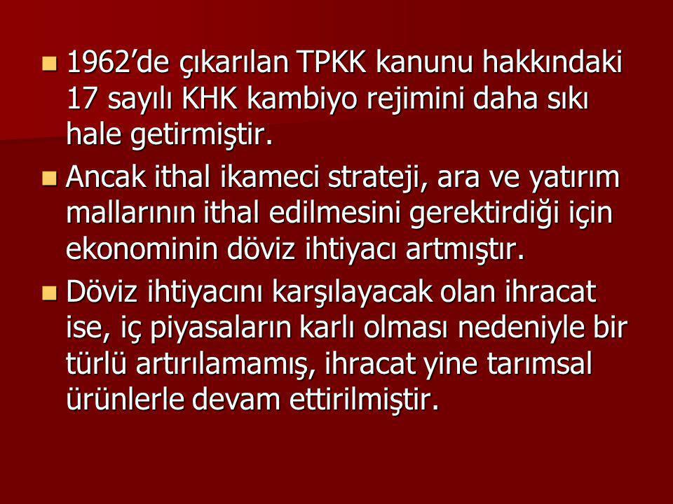 1962'de çıkarılan TPKK kanunu hakkındaki 17 sayılı KHK kambiyo rejimini daha sıkı hale getirmiştir. 1962'de çıkarılan TPKK kanunu hakkındaki 17 sayılı