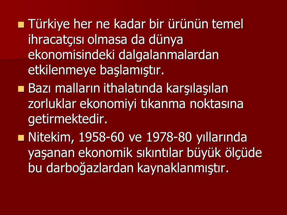 Türkiye her ne kadar bir ürünün temel ihracatçısı olmasa da dünya ekonomisindeki dalgalanmalardan etkilenmeye başlamıştır. Türkiye her ne kadar bir ür