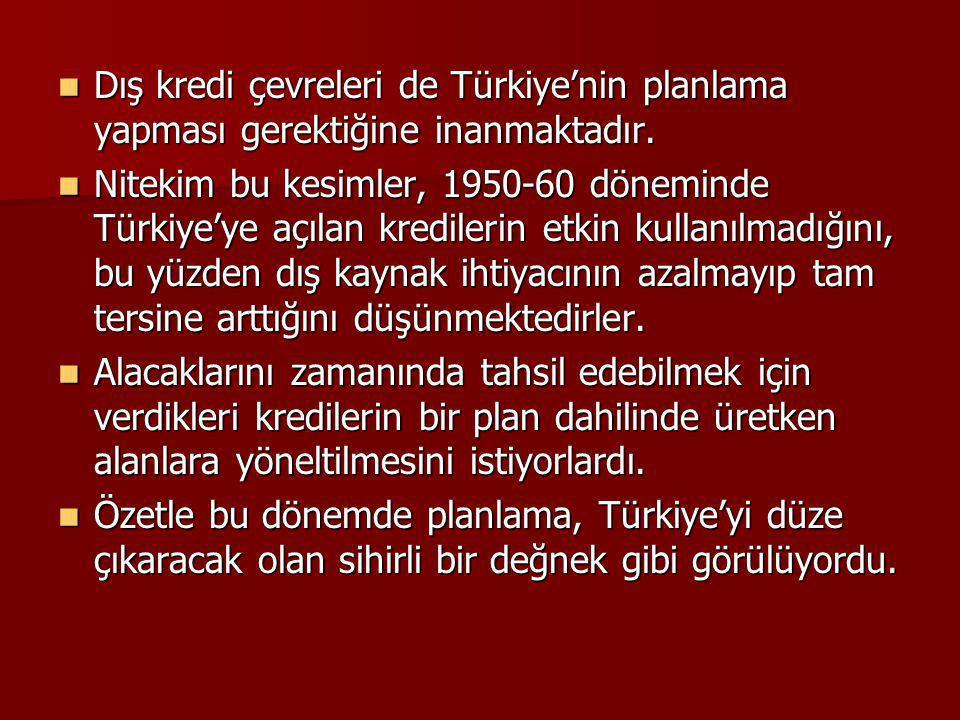 Dış kredi çevreleri de Türkiye'nin planlama yapması gerektiğine inanmaktadır. Dış kredi çevreleri de Türkiye'nin planlama yapması gerektiğine inanmakt