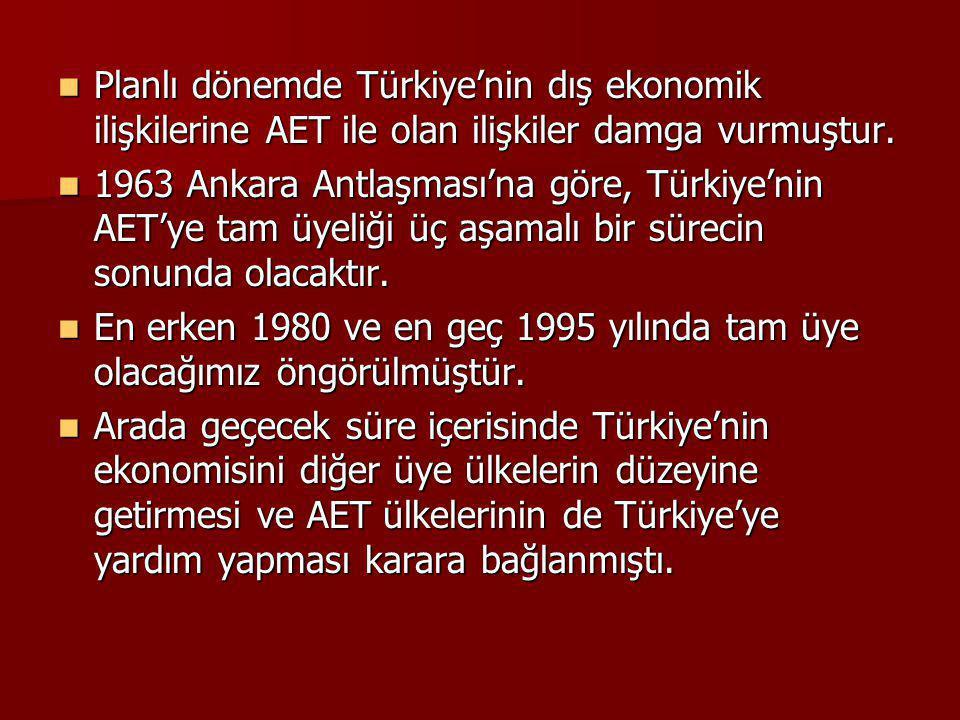 Planlı dönemde Türkiye'nin dış ekonomik ilişkilerine AET ile olan ilişkiler damga vurmuştur. Planlı dönemde Türkiye'nin dış ekonomik ilişkilerine AET