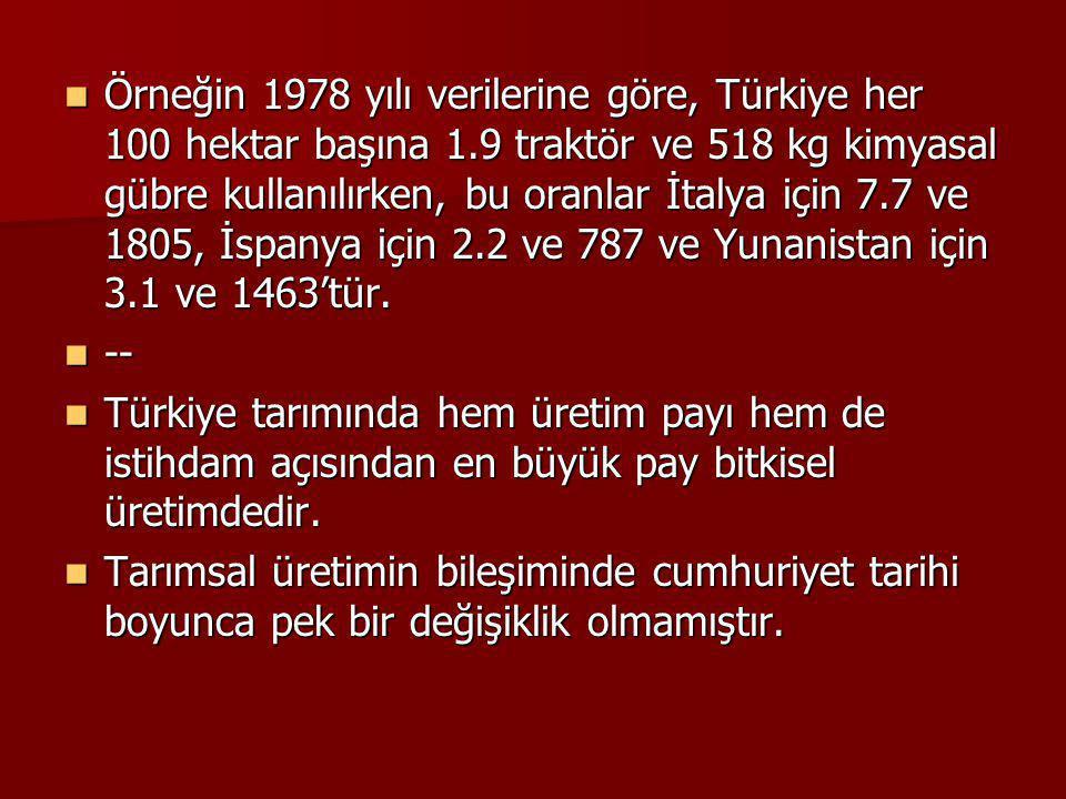 Örneğin 1978 yılı verilerine göre, Türkiye her 100 hektar başına 1.9 traktör ve 518 kg kimyasal gübre kullanılırken, bu oranlar İtalya için 7.7 ve 180
