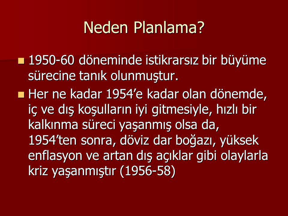 Neden Planlama? 1950-60 döneminde istikrarsız bir büyüme sürecine tanık olunmuştur. 1950-60 döneminde istikrarsız bir büyüme sürecine tanık olunmuştur