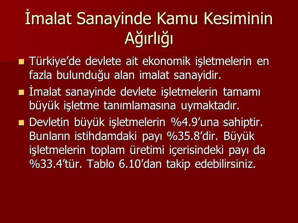 İmalat Sanayinde Kamu Kesiminin Ağırlığı Türkiye'de devlete ait ekonomik işletmelerin en fazla bulunduğu alan imalat sanayidir. Türkiye'de devlete ait