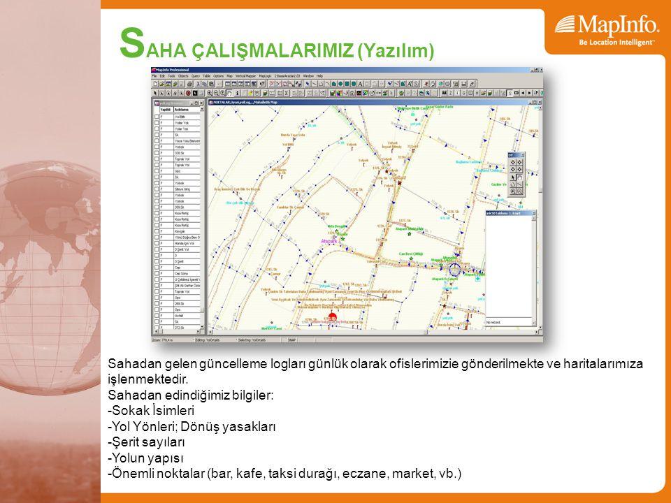 Sahadan gelen güncelleme logları günlük olarak ofislerimizie gönderilmekte ve haritalarımıza işlenmektedir.