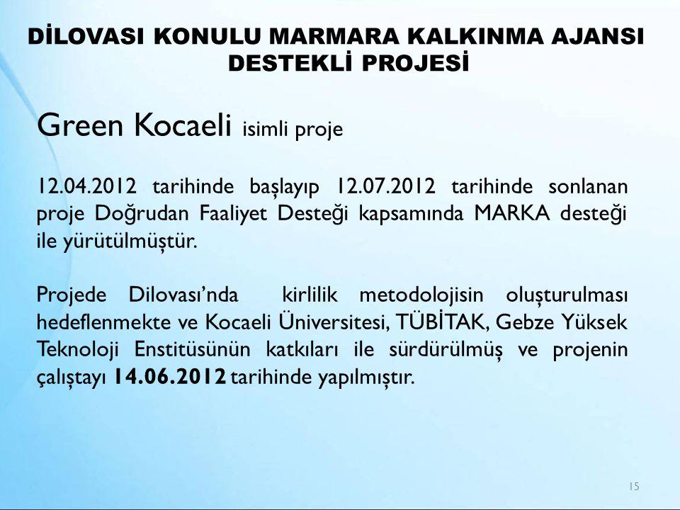 DİLOVASI KONULU MARMARA KALKINMA AJANSI DESTEKLİ PROJESİ 15 Green Kocaeli isimli proje 12.04.2012 tarihinde başlayıp 12.07.2012 tarihinde sonlanan pro