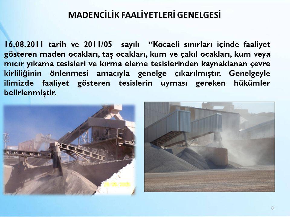 """MADENCİLİK FAALİYETLERİ GENELGESİ 8 16.08.2011 tarih ve 2011/05 sayılı """"Kocaeli sınırları içinde faaliyet gösteren maden ocakları, taş ocakları, kum v"""