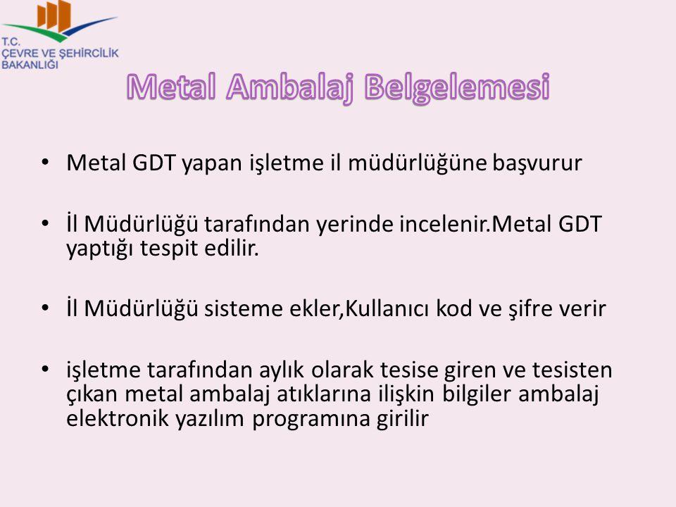 Metal GDT yapan işletme il müdürlüğüne başvurur İl Müdürlüğü tarafından yerinde incelenir.Metal GDT yaptığı tespit edilir. İl Müdürlüğü sisteme ekler,
