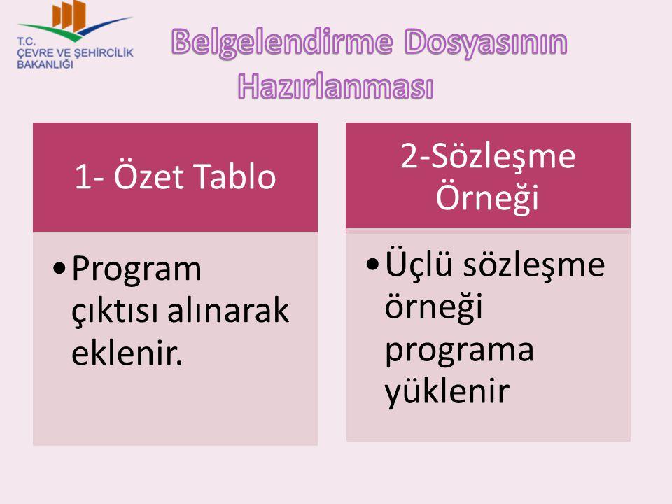 1- Özet Tablo Program çıktısı alınarak eklenir. 2-Sözleşme Örneği Üçlü sözleşme örneği programa yüklenir