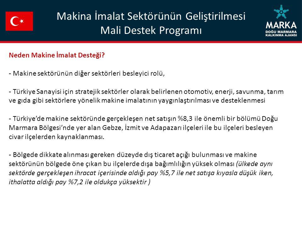 Neden Makine İmalat Desteği? - Makine sektörünün diğer sektörleri besleyici rolü, - Türkiye Sanayisi için stratejik sektörler olarak belirlenen otomot