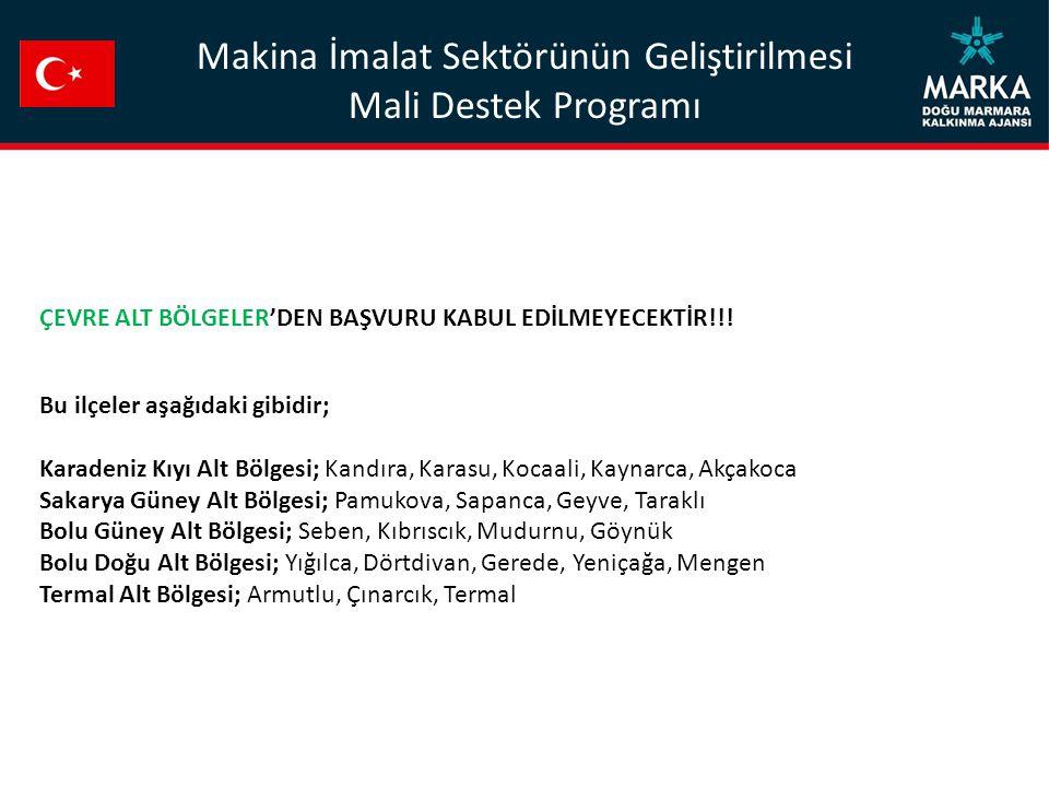 Makina İmalat Sektörünün Geliştirilmesi Mali Destek Programı ÇEVRE ALT BÖLGELER'DEN BAŞVURU KABUL EDİLMEYECEKTİR!!.