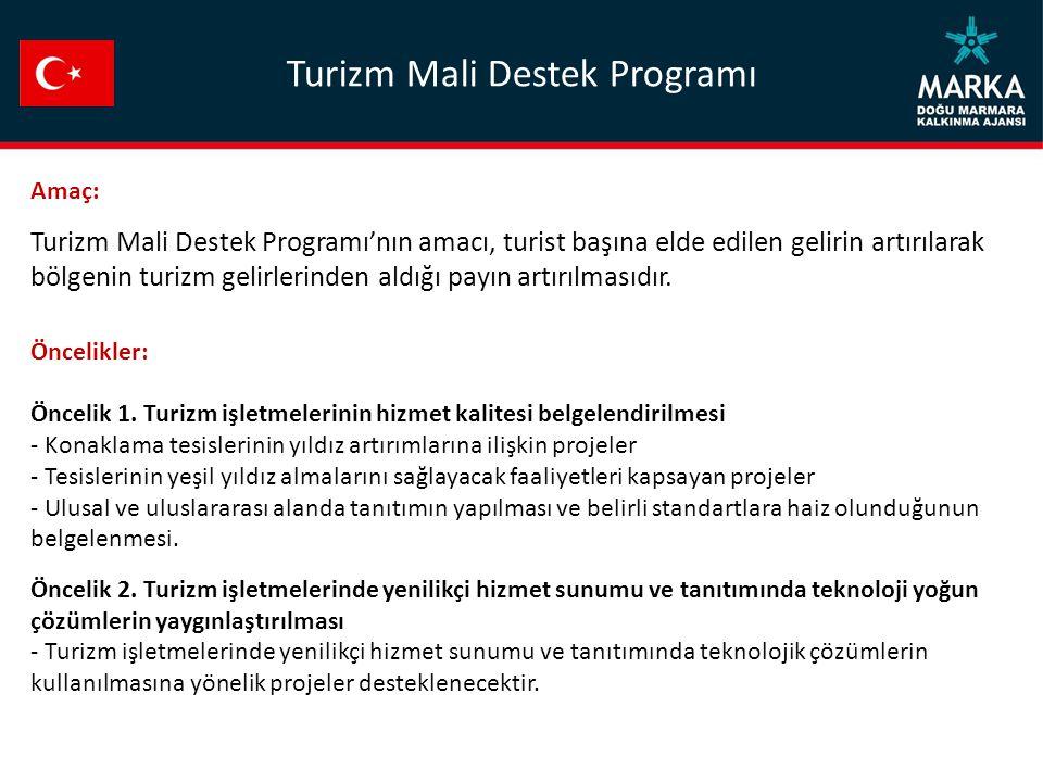 Amaç: Turizm Mali Destek Programı'nın amacı, turist başına elde edilen gelirin artırılarak bölgenin turizm gelirlerinden aldığı payın artırılmasıdır.