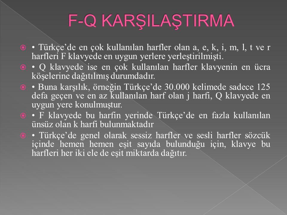  Türkçe'de en çok kullanılan harfler olan a, e, k, i, m, l, t ve r harfleri F klavyede en uygun yerlere yerleştirilmişti.