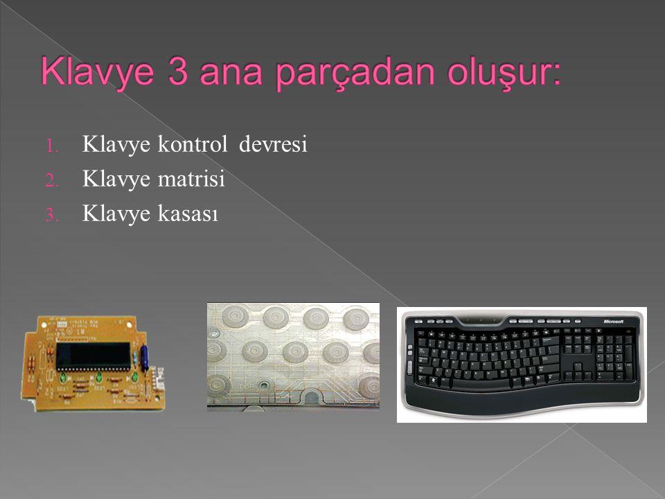 1. Klavye kontrol devresi 2. Klavye matrisi 3. Klavye kasası