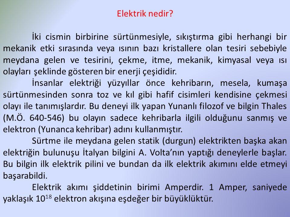 Elektrik nedir? İki cismin birbirine sürtünmesiyle, sıkıştırma gibi herhangi bir mekanik etki sırasında veya ısının bazı kristallere olan tesiri sebeb