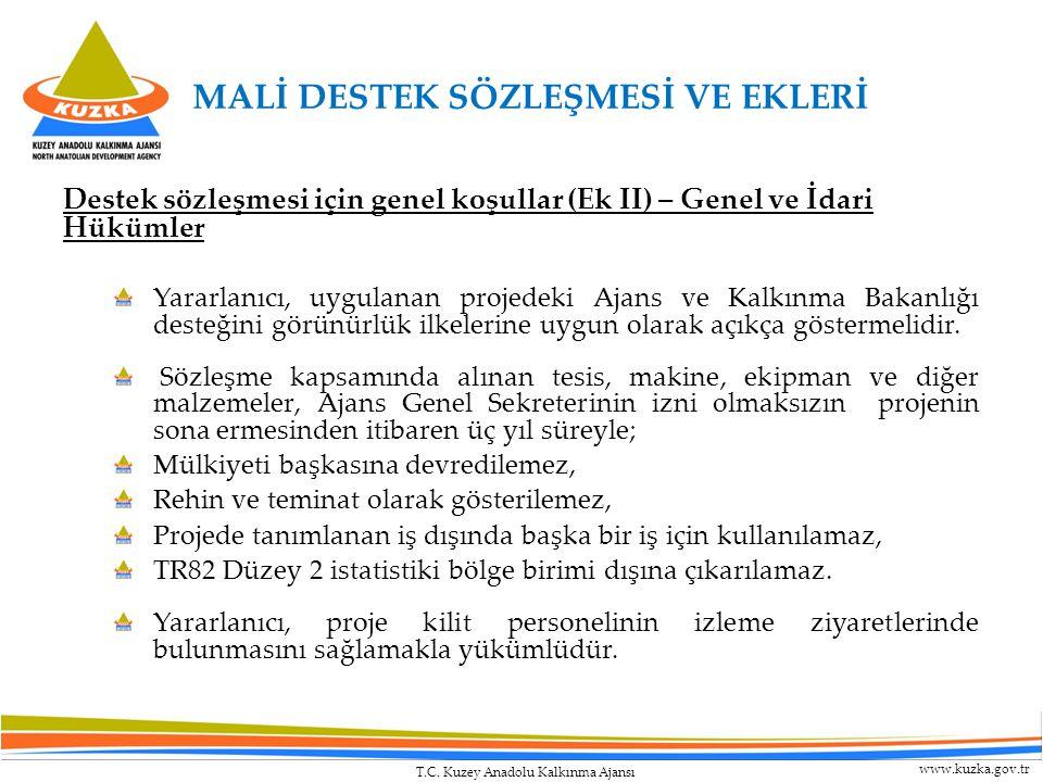 T.C. Kuzey Anadolu Kalkınma Ajansı www.kuzka.gov.tr Destek sözleşmesi için genel koşullar (Ek II) – Genel ve İdari Hükümler Yararlanıcı, uygulanan pro