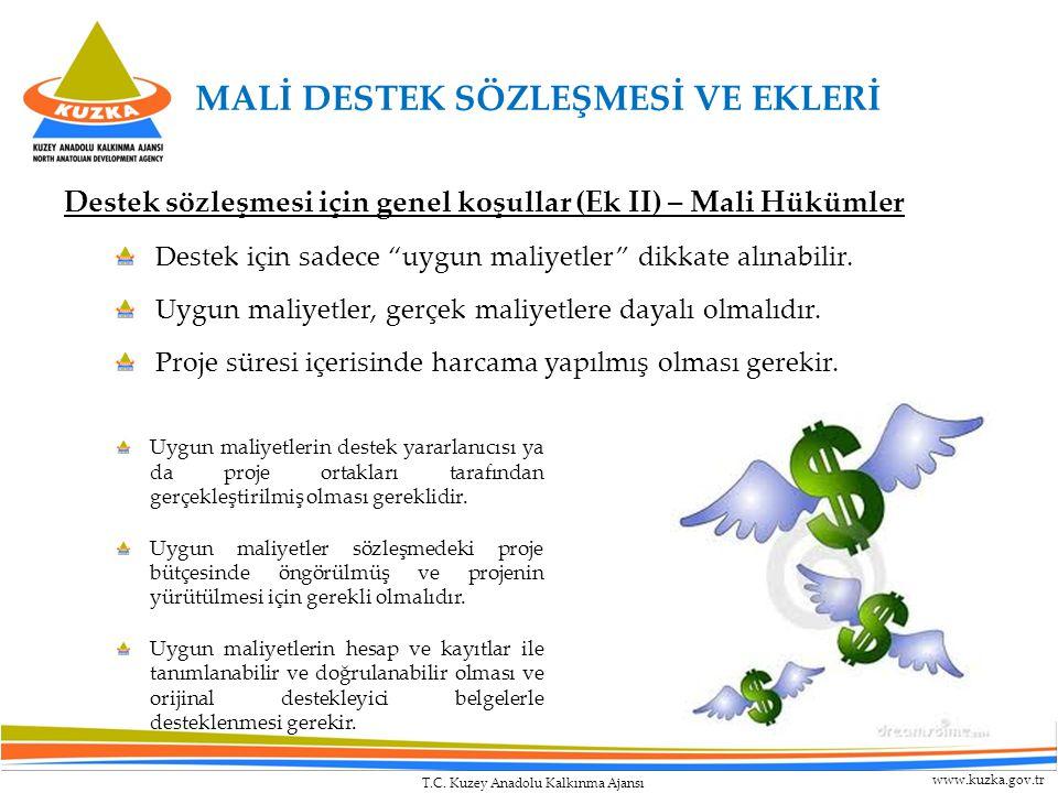 """T.C. Kuzey Anadolu Kalkınma Ajansı www.kuzka.gov.tr Destek sözleşmesi için genel koşullar (Ek II) – Mali Hükümler Destek için sadece """"uygun maliyetler"""