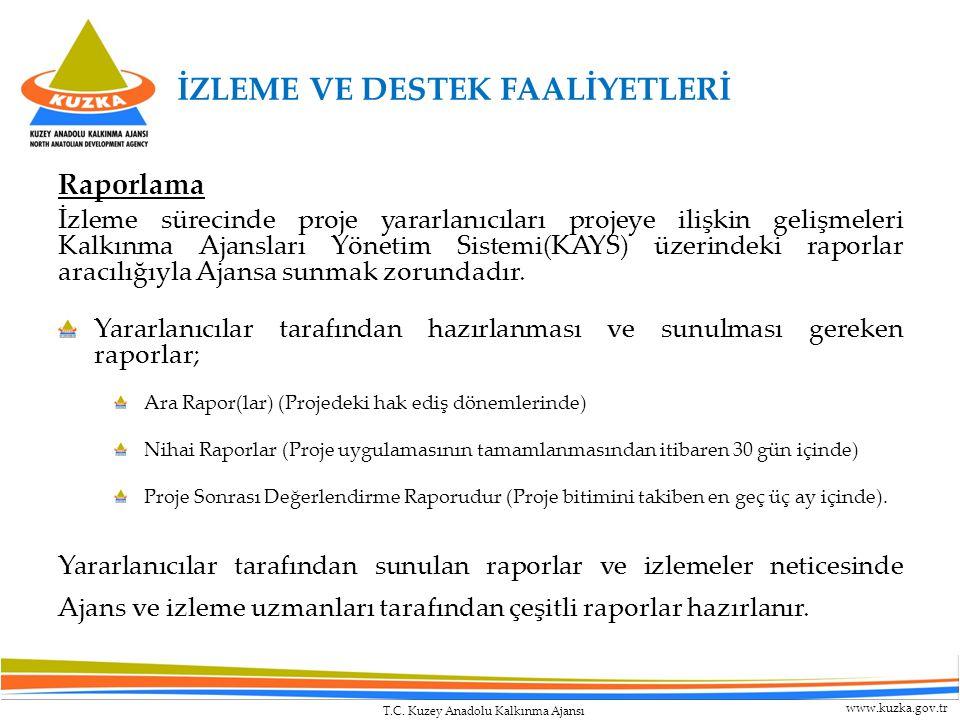 T.C. Kuzey Anadolu Kalkınma Ajansı www.kuzka.gov.tr Raporlama İzleme sürecinde proje yararlanıcıları projeye ilişkin gelişmeleri Kalkınma Ajansları Yö