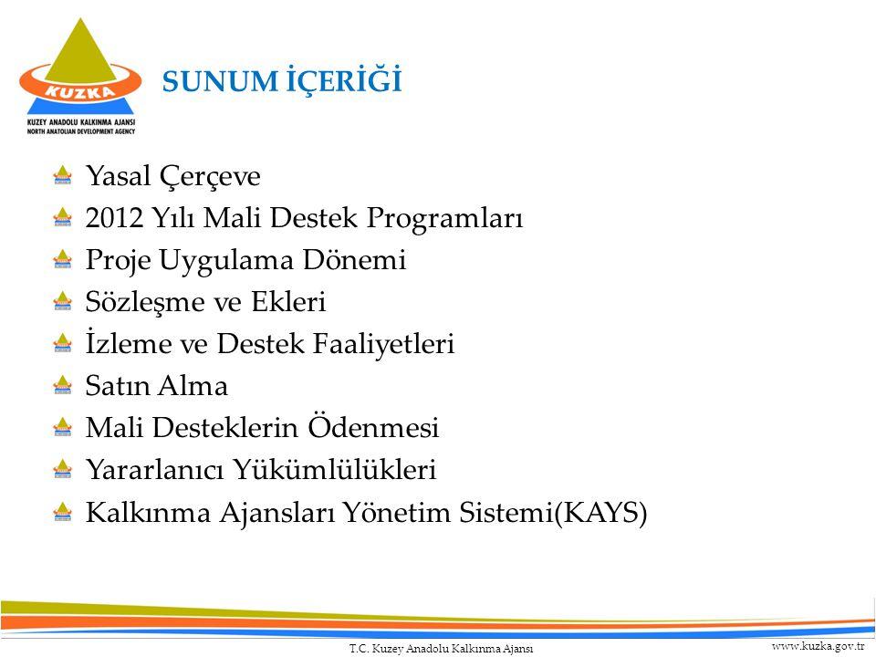 T.C. Kuzey Anadolu Kalkınma Ajansı www.kuzka.gov.tr SUNUM İÇERİĞİ Yasal Çerçeve 2012 Yılı Mali Destek Programları Proje Uygulama Dönemi Sözleşme ve Ek