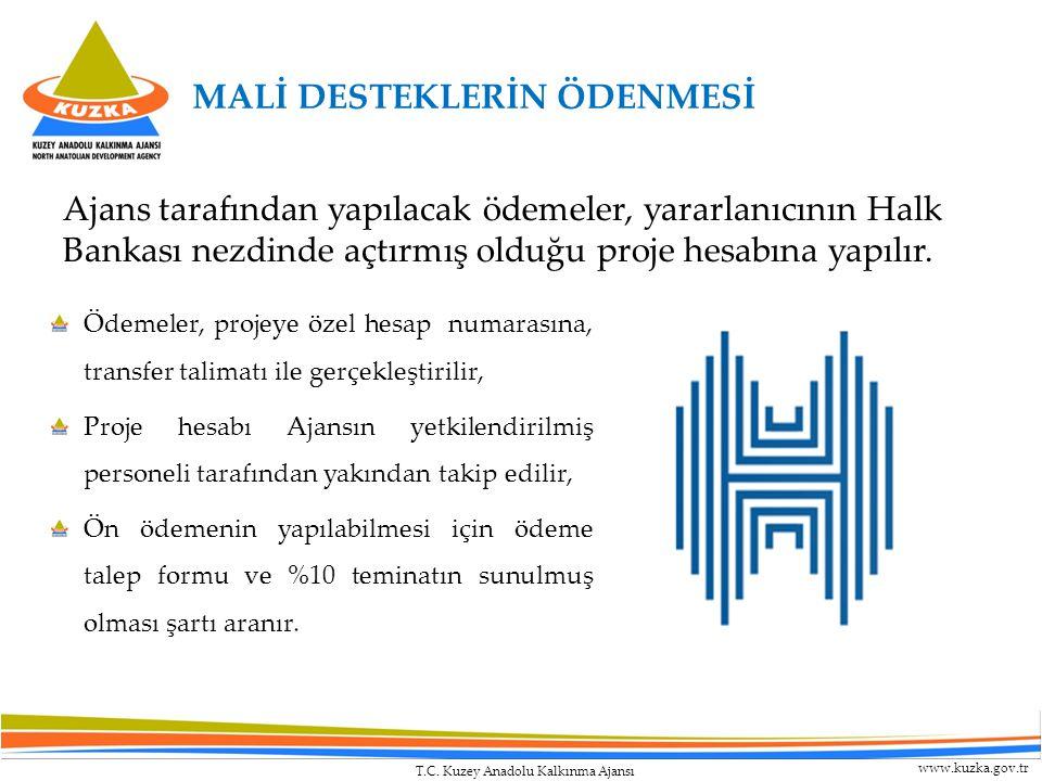 T.C. Kuzey Anadolu Kalkınma Ajansı www.kuzka.gov.tr MALİ DESTEKLERİN ÖDENMESİ Ajans tarafından yapılacak ödemeler, yararlanıcının Halk Bankası nezdind