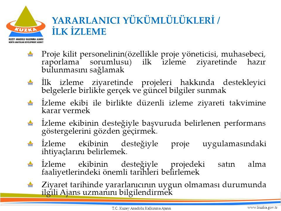 T.C. Kuzey Anadolu Kalkınma Ajansı www.kuzka.gov.tr YARARLANICI YÜKÜMLÜLÜKLERİ / İLK İZLEME Proje kilit personelinin(özellikle proje yöneticisi, muhas