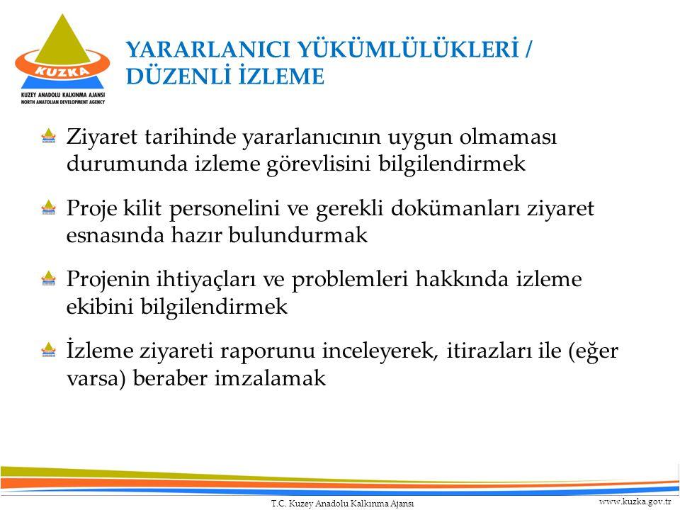 T.C. Kuzey Anadolu Kalkınma Ajansı www.kuzka.gov.tr Ziyaret tarihinde yararlanıcının uygun olmaması durumunda izleme görevlisini bilgilendirmek Proje