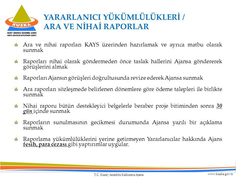 T.C. Kuzey Anadolu Kalkınma Ajansı www.kuzka.gov.tr Ara ve nihai raporları KAYS üzerinden hazırlamak ve ayrıca matbu olarak sunmak Raporları nihai ola