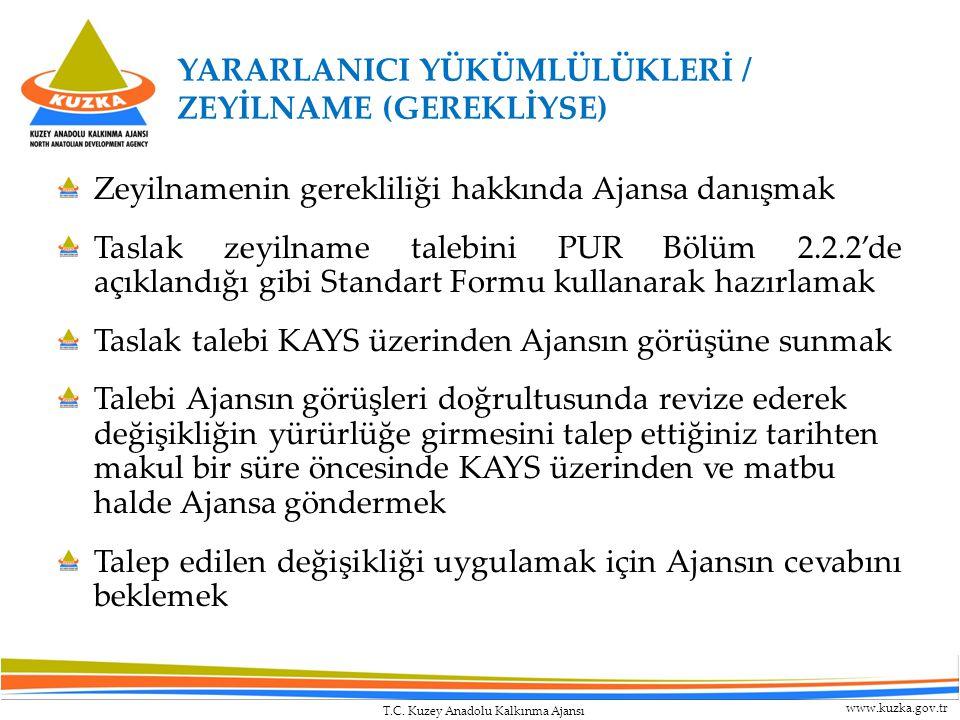 T.C. Kuzey Anadolu Kalkınma Ajansı www.kuzka.gov.tr Zeyilnamenin gerekliliği hakkında Ajansa danışmak Taslak zeyilname talebini PUR Bölüm 2.2.2'de açı