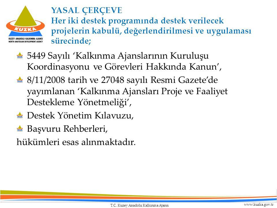 T.C. Kuzey Anadolu Kalkınma Ajansı www.kuzka.gov.tr YASAL ÇERÇEVE Her iki destek programında destek verilecek projelerin kabulü, değerlendirilmesi ve