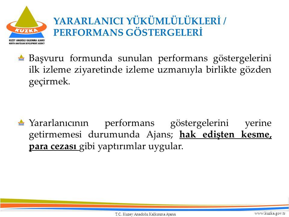 T.C. Kuzey Anadolu Kalkınma Ajansı www.kuzka.gov.tr YARARLANICI YÜKÜMLÜLÜKLERİ / PERFORMANS GÖSTERGELERİ Başvuru formunda sunulan performans göstergel