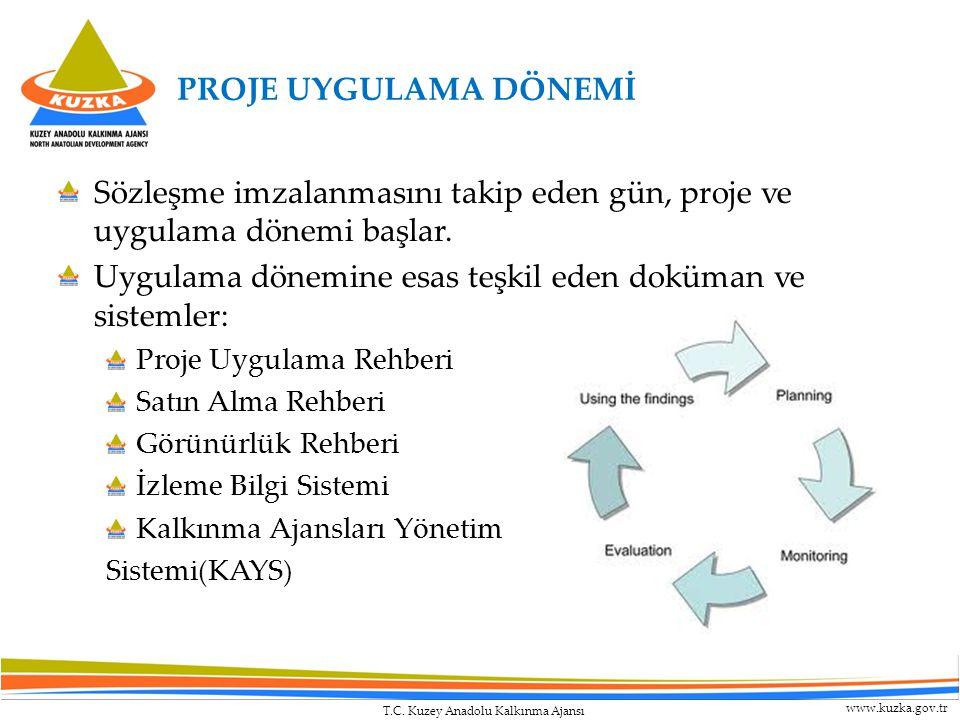 T.C. Kuzey Anadolu Kalkınma Ajansı www.kuzka.gov.tr PROJE UYGULAMA DÖNEMİ Sözleşme imzalanmasını takip eden gün, proje ve uygulama dönemi başlar. Uygu