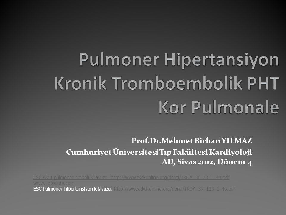 Prof.Dr.Mehmet Birhan YILMAZ Cumhuriyet Üniversitesi Tıp Fakültesi Kardiyoloji AD, Sivas 2012, Dönem-4 ESC Akut pulmoner emboli kılavuzu. http://www.t