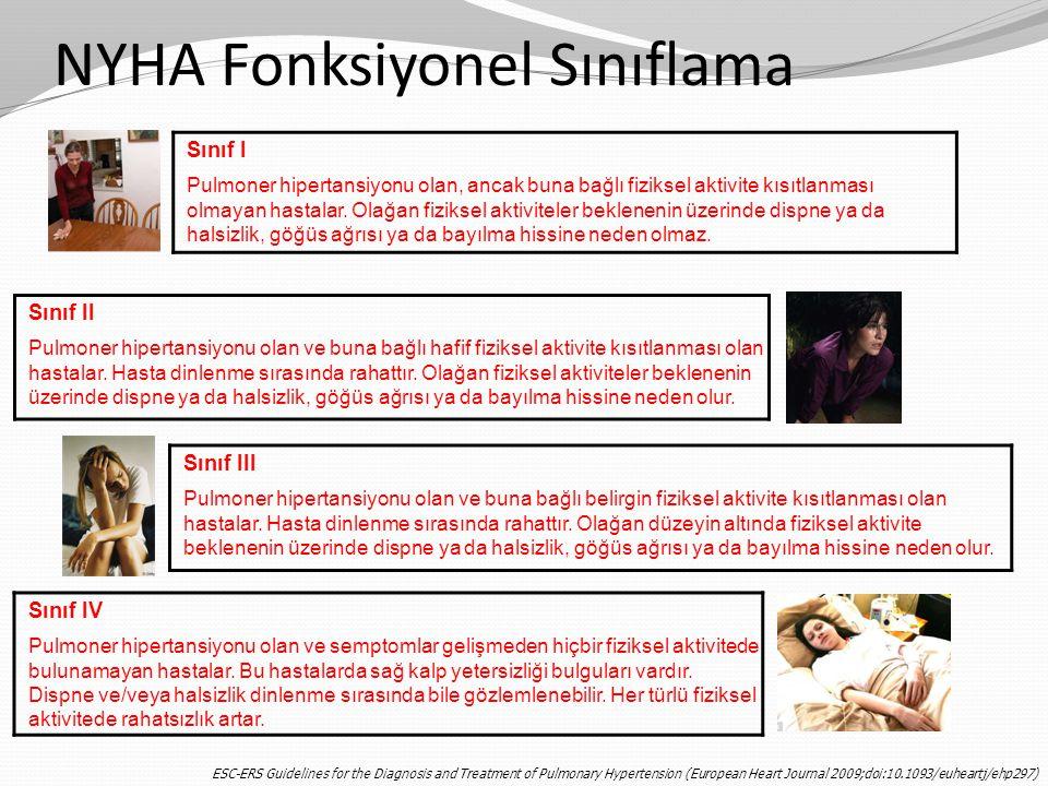 NYHA Fonksiyonel Sınıflama Sınıf I Pulmoner hipertansiyonu olan, ancak buna bağlı fiziksel aktivite kısıtlanması olmayan hastalar. Olağan fiziksel akt