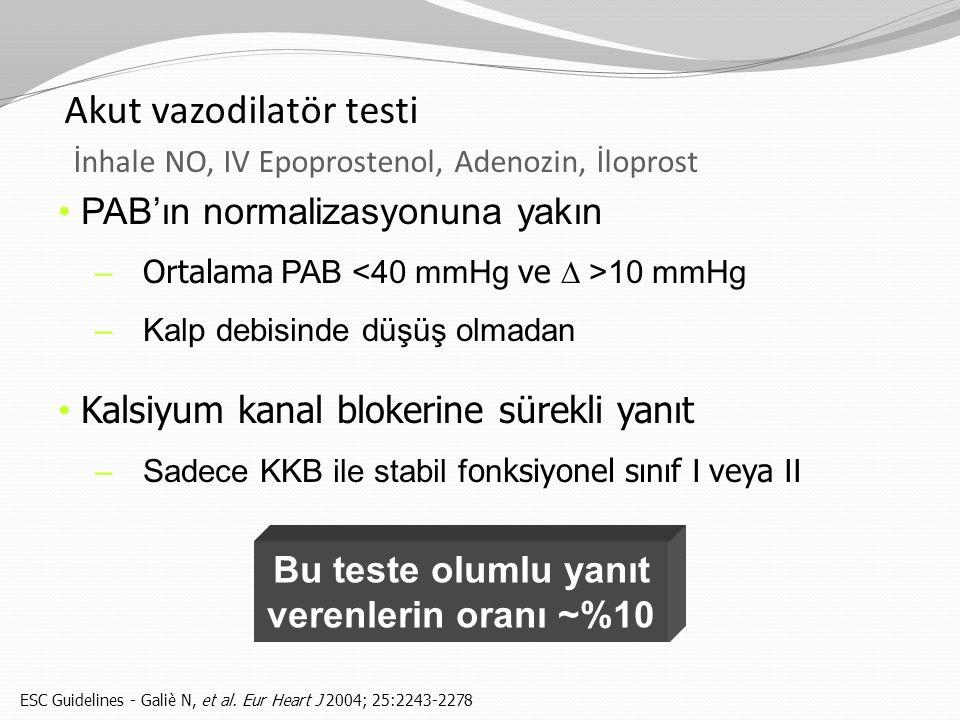 PAB'ın normalizasyonuna yakın – Ortalama PAB 10 mmHg –Kalp debisinde düşüş olmadan Kalsiyum kanal blokerine sürekli yanıt –Sadece KKB ile stabil f o n