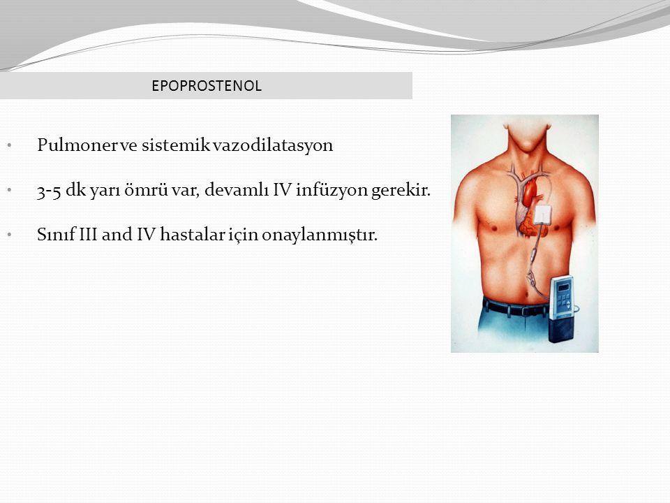 EPOPROSTENOL Pulmoner ve sistemik vazodilatasyon 3-5 dk yarı ömrü var, devamlı IV infüzyon gerekir. Sınıf III and IV hastalar için onaylanmıştır.