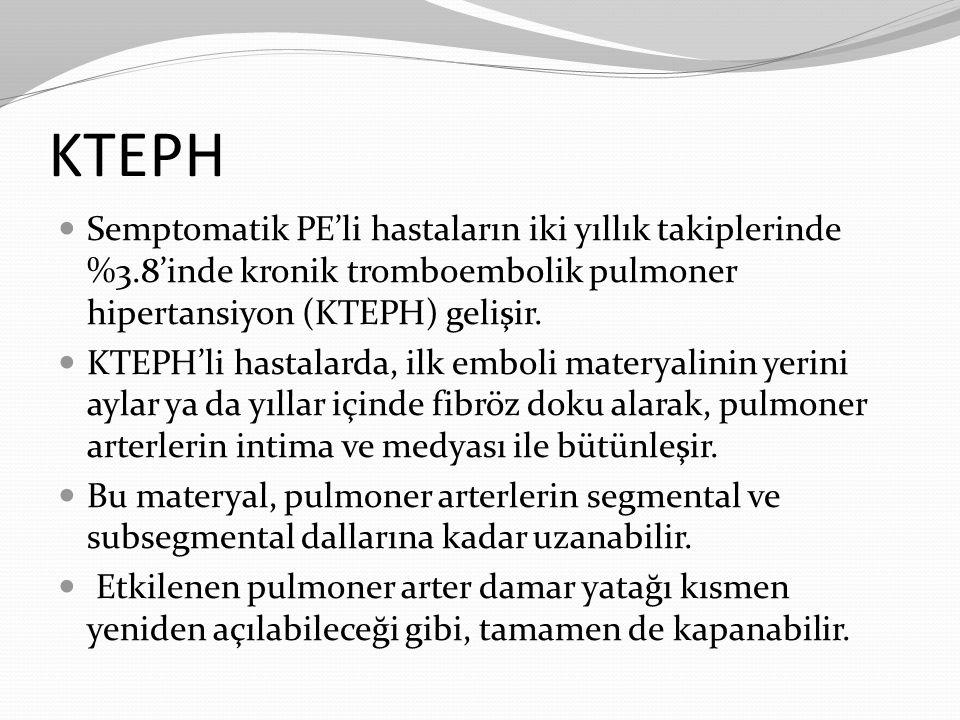 KTEPH Semptomatik PE'li hastaların iki yıllık takiplerinde %3.8'inde kronik tromboembolik pulmoner hipertansiyon (KTEPH) gelişir. KTEPH'li hastalarda,