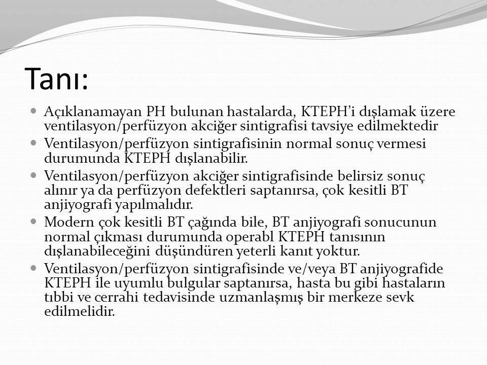Tanı: Açıklanamayan PH bulunan hastalarda, KTEPH'i dışlamak üzere ventilasyon/perfüzyon akciğer sintigrafisi tavsiye edilmektedir Ventilasyon/perfüzyo