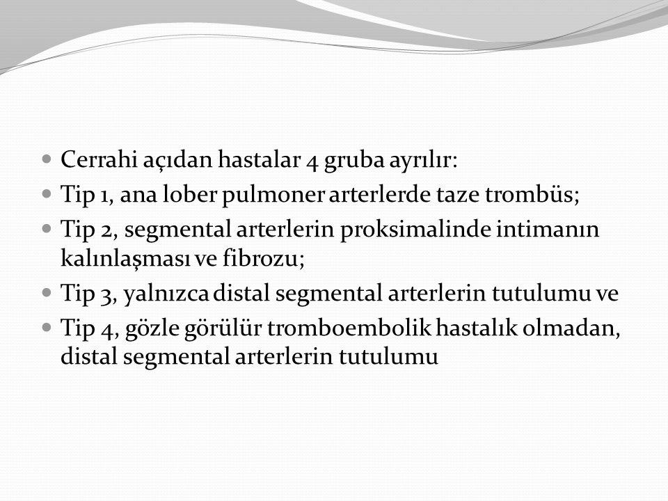 Cerrahi açıdan hastalar 4 gruba ayrılır: Tip 1, ana lober pulmoner arterlerde taze trombüs; Tip 2, segmental arterlerin proksimalinde intimanın kalınl