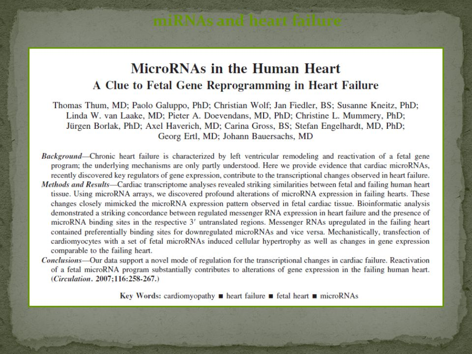 miRNAs and heart failure