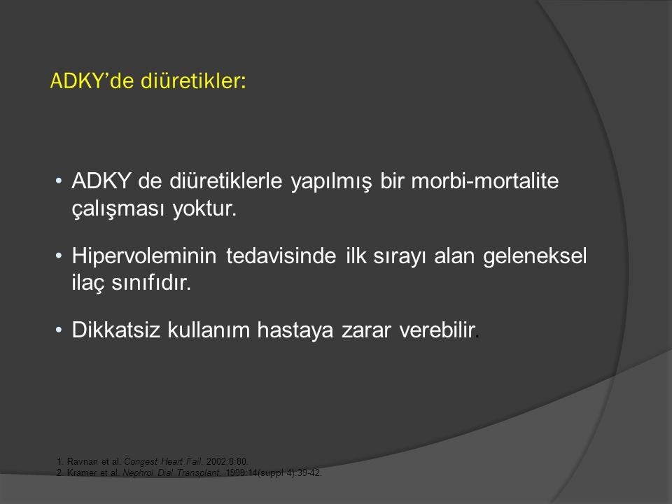ADKY'de diüretikler: ADKY de diüretiklerle yapılmış bir morbi-mortalite çalışması yoktur.