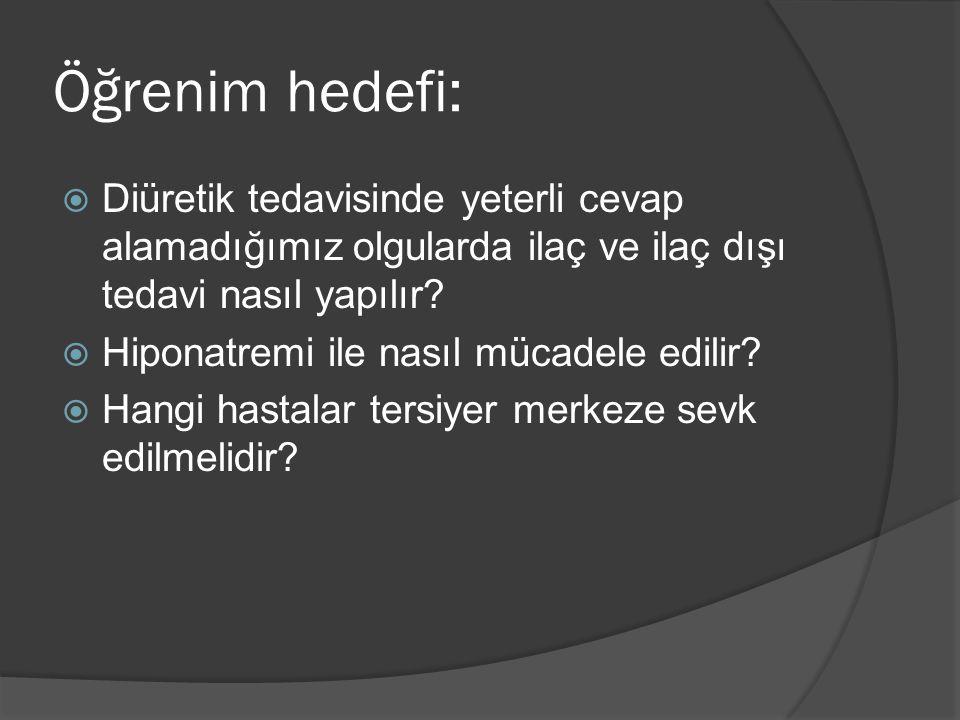  Hipotonik hipervolemik hiponatreminin en sık sebebi bozulmuş AVP salınımıdır.