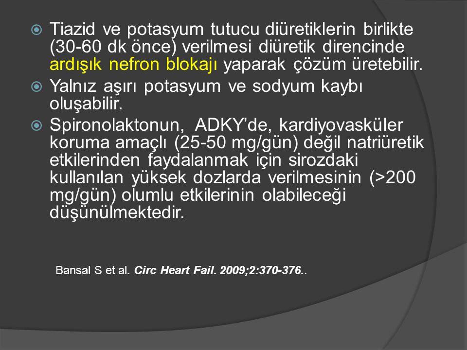  Tiazid ve potasyum tutucu diüretiklerin birlikte (30-60 dk önce) verilmesi diüretik direncinde ardışık nefron blokajı yaparak çözüm üretebilir.
