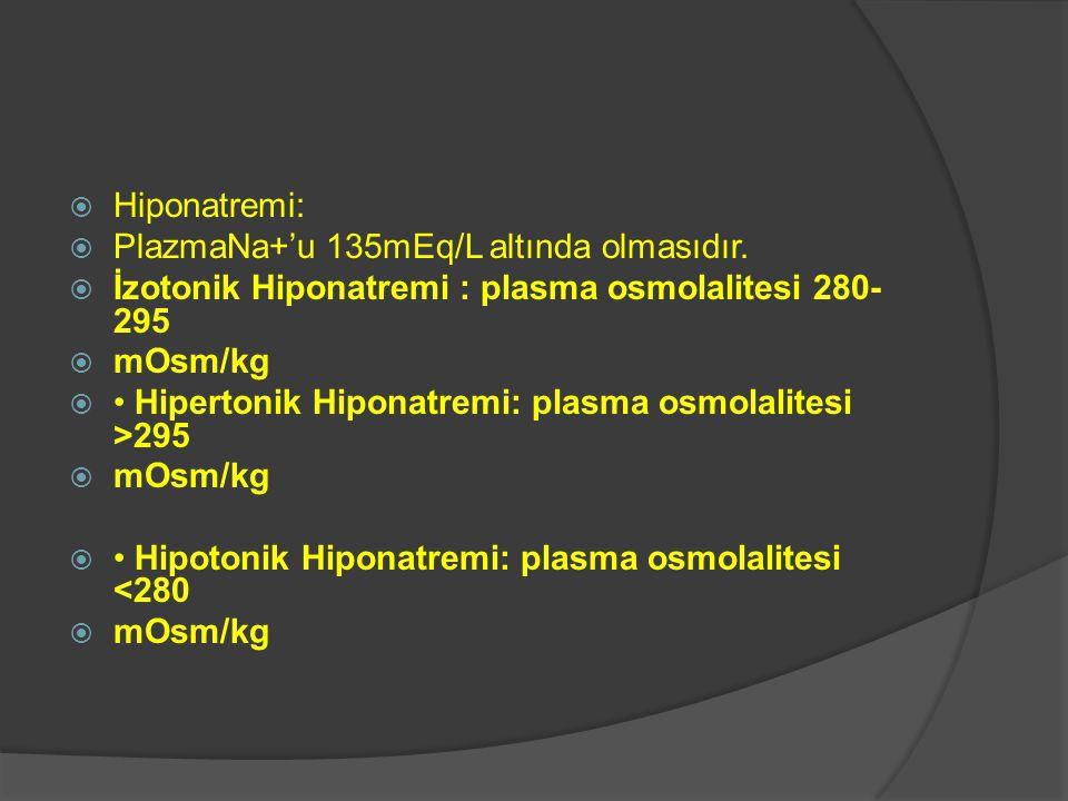  Hiponatremi:  PlazmaNa+'u 135mEq/L altında olmasıdır.