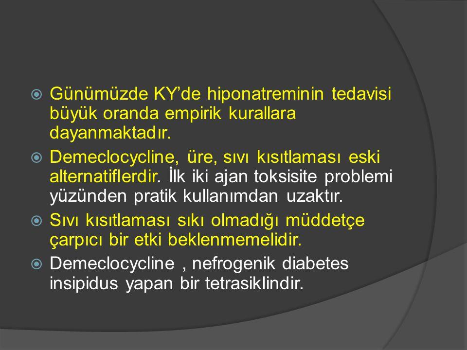  Günümüzde KY'de hiponatreminin tedavisi büyük oranda empirik kurallara dayanmaktadır.