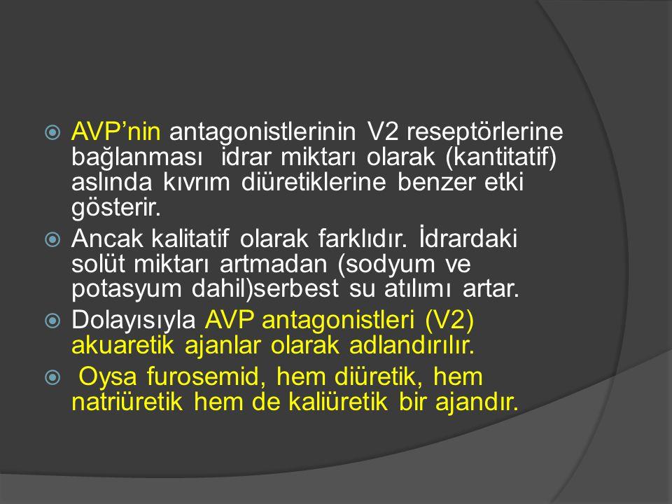  AVP'nin antagonistlerinin V2 reseptörlerine bağlanması idrar miktarı olarak (kantitatif) aslında kıvrım diüretiklerine benzer etki gösterir.