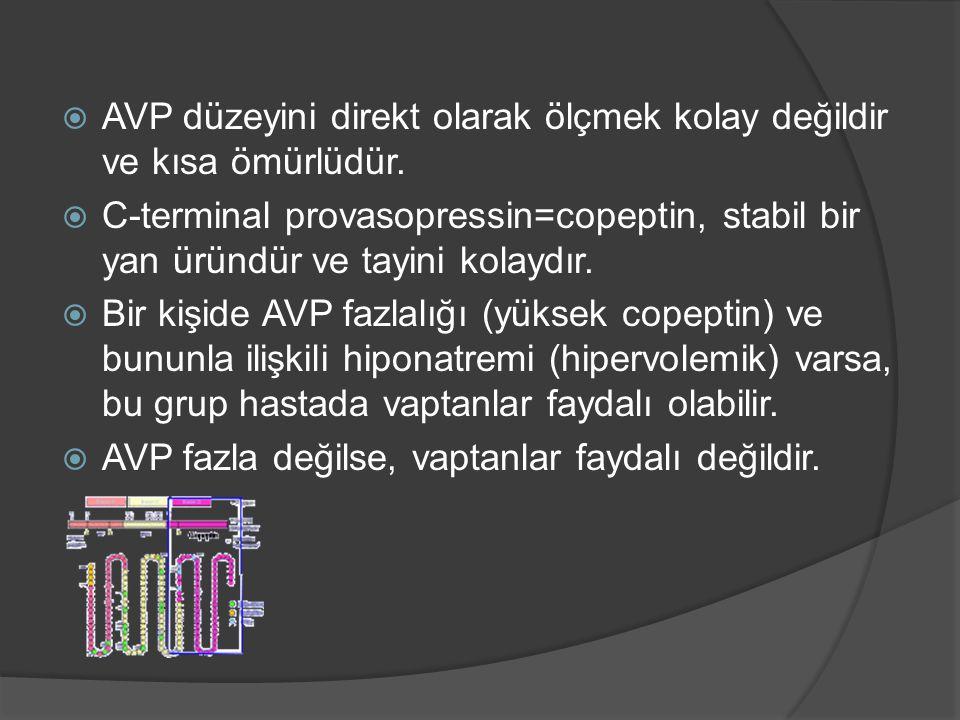  AVP düzeyini direkt olarak ölçmek kolay değildir ve kısa ömürlüdür.