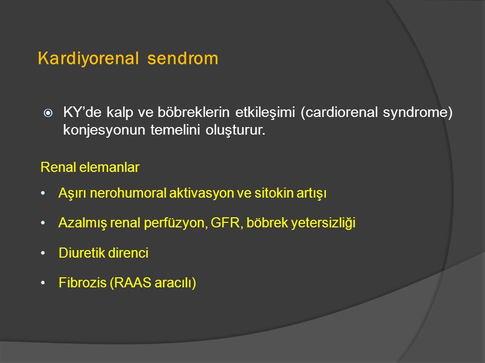 Kardiyorenal sendrom  KY'de kalp ve böbreklerin etkileşimi (cardiorenal syndrome) konjesyonun temelini oluşturur.